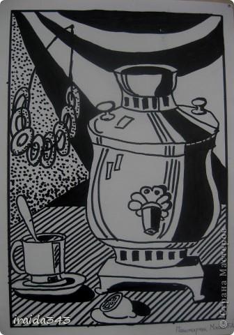"""Второй год выполняем с пятиклассниками натюрморт черным маркером. За основу даю рисунки из детской раскраски """"Я рисую натюрморт"""" из серии """"Веселые уроки волшебника Карандаша"""" фото 6"""