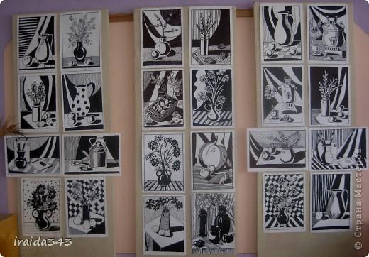 """Второй год выполняем с пятиклассниками натюрморт черным маркером. За основу даю рисунки из детской раскраски """"Я рисую натюрморт"""" из серии """"Веселые уроки волшебника Карандаша"""" фото 21"""
