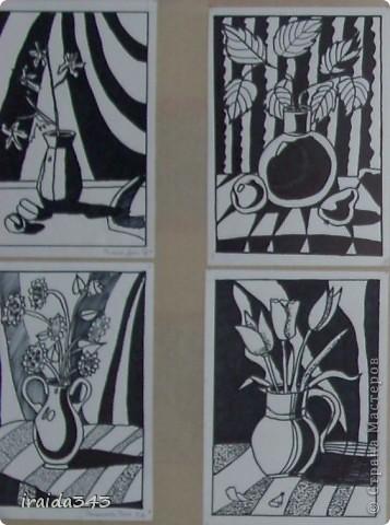 """Второй год выполняем с пятиклассниками натюрморт черным маркером. За основу даю рисунки из детской раскраски """"Я рисую натюрморт"""" из серии """"Веселые уроки волшебника Карандаша"""" фото 1"""