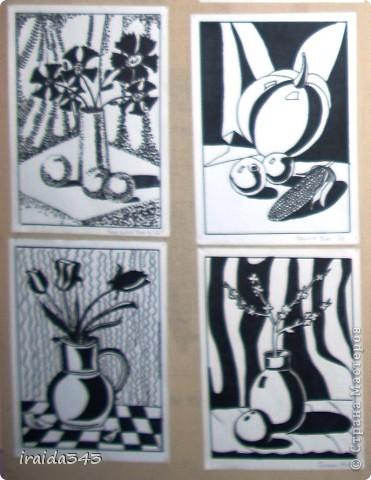 """Второй год выполняем с пятиклассниками натюрморт черным маркером. За основу даю рисунки из детской раскраски """"Я рисую натюрморт"""" из серии """"Веселые уроки волшебника Карандаша"""" фото 2"""