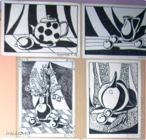 """Второй год выполняем с пятиклассниками натюрморт черным маркером. За основу даю рисунки из детской раскраски """"Я рисую натюрморт"""" из серии """"Веселые уроки волшебника Карандаша"""" фото 14"""