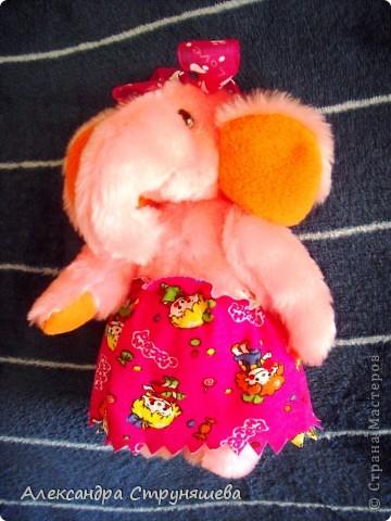 Эта чудная слонишка получилась по просьбе подруги. Ей очень хотелось получить к празднику розового слонёнка. фото 1