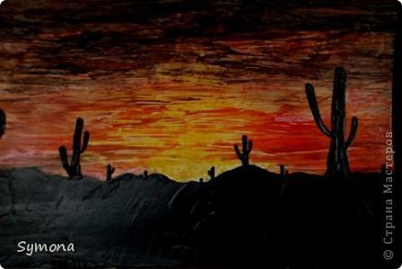 Закат с кактусами
