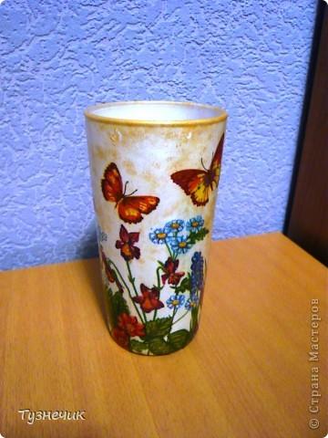 это был большой стеклянный стакан...а получилась вот такая вазочка)))) фото 1