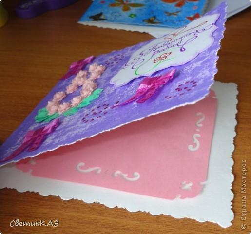 Открытка для мамы. Розочки выполнены по МК http://asti-n.ya.ru/replies.xml?item_no=184 Акварельная бумага окрашена акриловой краской при помощи губки фото 3