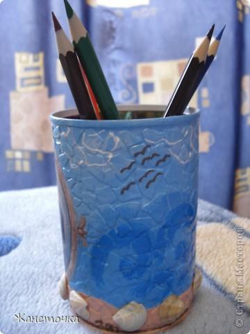 Специально для подружки сделала карандашницу. Использовала настоящий морской песок и ракушки) Надеюсь этот маленький подарочек будет радовать Дашульку) фото 2