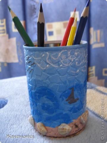 Специально для подружки сделала карандашницу. Использовала настоящий морской песок и ракушки) Надеюсь этот маленький подарочек будет радовать Дашульку) фото 3
