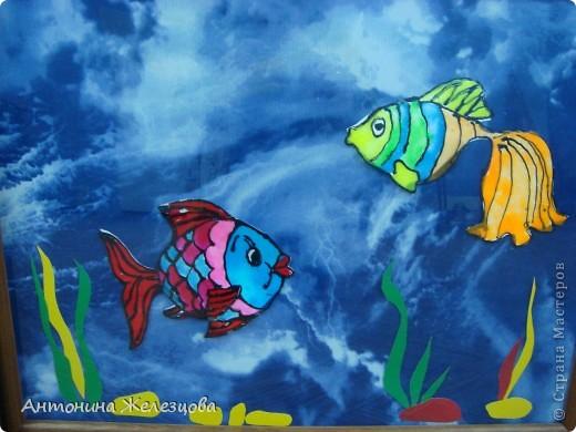 Витражные рыбки на ткани. фото 1