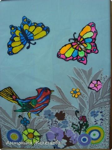 Витражные рыбки на ткани. фото 2