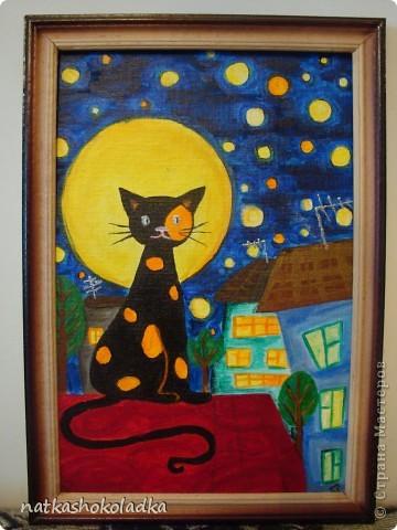 Вот такой кот у меня получился. Рисовала акриловыми красками первый раз, так-что не судите строго)!