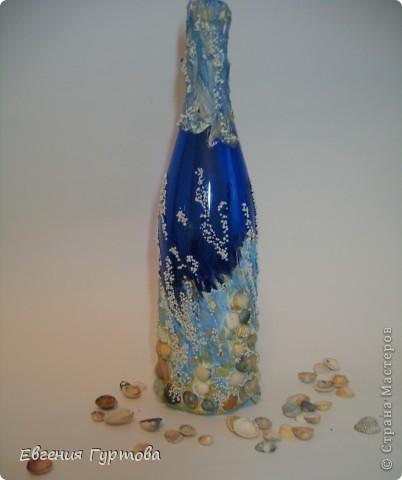"""Как то в моей жизни случился """"Творческий кризис"""". Ну ничего в голову не шло и не моглось...Тогда я взяла бутылку синего цвета и намалевала на ней шпатлевкой... фото 1"""