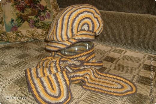 Беретик с козырьком и шарфик фото 3