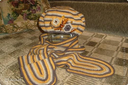 Беретик с козырьком и шарфик фото 4