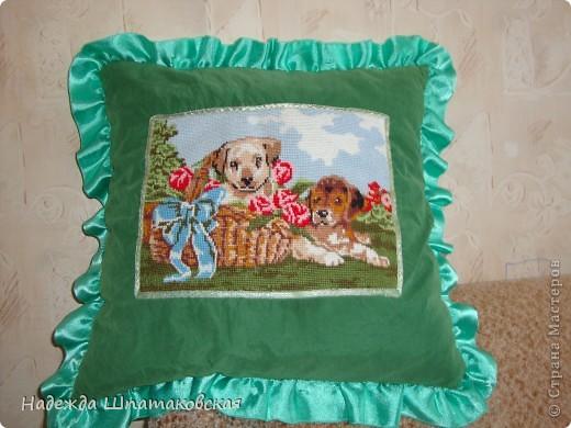 изображение вышито крестиком. Сама подушка состоит из 2х частей: чехол(зеленый с вышивкой) и сама подушка (сшитая из двух квадратов ткани, набитых синтепоном). Сзади имеется застежка-молния.