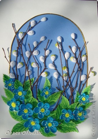 """Вот ещё один подарок на 8 марта у нас готов!На этот раз цветочная композиция с веточками вербы. На ум приходят строчки из стихотворения Тютчева: """"Зима недаром злится,  Прошла её пора! Весна в окно стучится  И гонит со двора..."""" фото 3"""