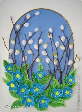 """Вот ещё один подарок на 8 марта у нас готов!На этот раз цветочная композиция с веточками вербы. На ум приходят строчки из стихотворения Тютчева: """"Зима недаром злится,  Прошла её пора! Весна в окно стучится  И гонит со двора..."""" фото 4"""