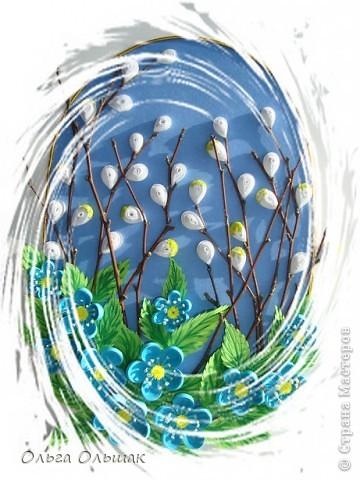"""Вот ещё один подарок на 8 марта у нас готов!На этот раз цветочная композиция с веточками вербы. На ум приходят строчки из стихотворения Тютчева: """"Зима недаром злится,  Прошла её пора! Весна в окно стучится  И гонит со двора..."""" фото 2"""