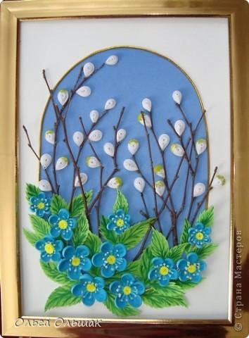 """Вот ещё один подарок на 8 марта у нас готов!На этот раз цветочная композиция с веточками вербы. На ум приходят строчки из стихотворения Тютчева: """"Зима недаром злится,  Прошла её пора! Весна в окно стучится  И гонит со двора..."""" фото 5"""