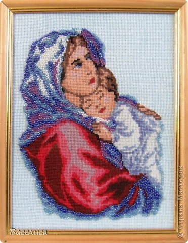 """Эта работа подготовлена к конкурсу """"Русь моя православная"""".  Выполнена в смешанной технике вышивка крестом и вышивка бисером."""