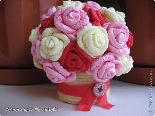 Вот какая корзиночка у меня получилась. Хочу сказать огромное спасибо Олисандре за МК http://stranamasterov.ru/node/152143?c=favorite по розам из салфеток, и за идею кашпо с использованием пряжи. фото 1