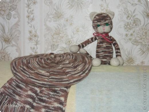 Вот такой котёнок получился из остатков пряжи,от берета и шарфа.