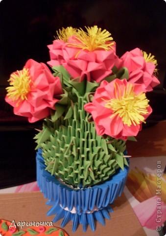 Цветущий кактус с иголочками (модульное оригами) фото 4