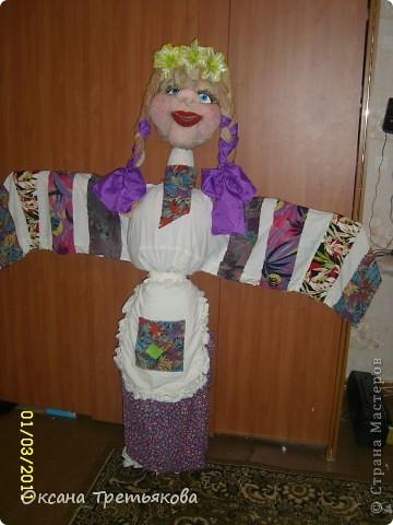 Вот такую Масленницу я сделала дочери в школу. Надо было сделать куклу от класса. Ну вот такая она уродилась. Рост ее примерно 154 см. Первый раз делала такую большую куклу. Но по моему получилось.  фото 2