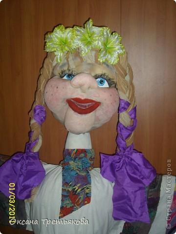 Вот такую Масленницу я сделала дочери в школу. Надо было сделать куклу от класса. Ну вот такая она уродилась. Рост ее примерно 154 см. Первый раз делала такую большую куклу. Но по моему получилось.  фото 3