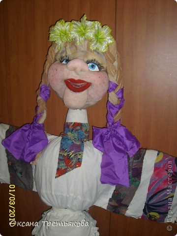 Вот такую Масленницу я сделала дочери в школу. Надо было сделать куклу от класса. Ну вот такая она уродилась. Рост ее примерно 154 см. Первый раз делала такую большую куклу. Но по моему получилось.  фото 4
