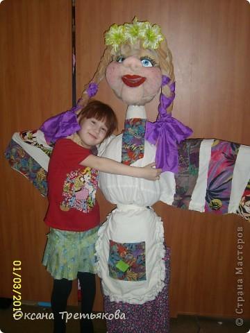 Вот такую Масленницу я сделала дочери в школу. Надо было сделать куклу от класса. Ну вот такая она уродилась. Рост ее примерно 154 см. Первый раз делала такую большую куклу. Но по моему получилось.  фото 6