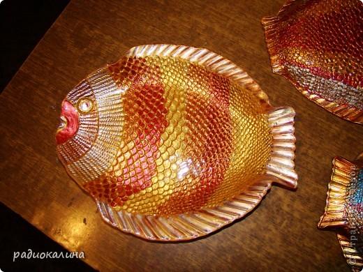 """После салатника """"Золотая рыбка""""  назрел заказ  к празднику мужчин и это первая рыбина из семейства салатниковых. Обратная роспись акриловыми красками. фото 5"""