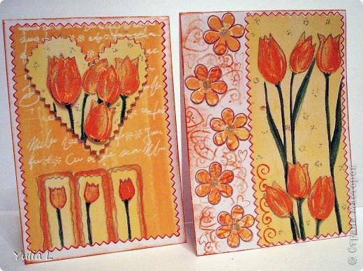 Незатейливые, но очень красочные открытки в подарок педагогам к наступающему весеннему празднику. фото 3