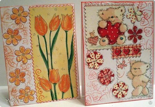 Незатейливые, но очень красочные открытки в подарок педагогам к наступающему весеннему празднику. фото 1