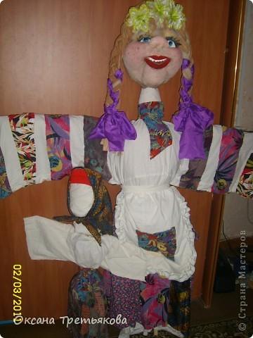 Вот такую Масленницу я сделала дочери в школу. Надо было сделать куклу от класса. Ну вот такая она уродилась. Рост ее примерно 154 см. Первый раз делала такую большую куклу. Но по моему получилось.  фото 7
