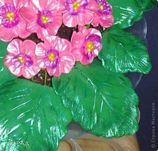 Фиалки и листики делала из самоотвердевающей массы, потом всё украсила акриловыми контурами))))) Лепила с фотографии, но не удержалась и добавила немного от себя......................так что теперь, как-то не очень на фиалки похожи)))) фото 5