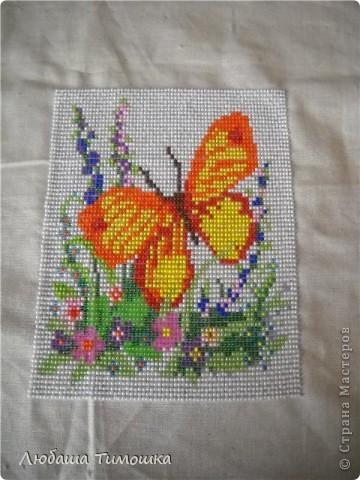 Вышивка бисером, бабочка