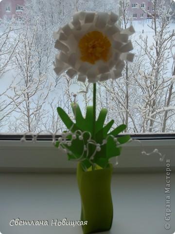 Вот такие объемные цветы придумала и смастерила из детских ладошек. Делаются очень быстро, а эффект потрясающий при минимальной затрате материалов. Правда, с детьми так и не успели попробовать, хотели к 8 марта сделать в подарок мамам.   фото 8