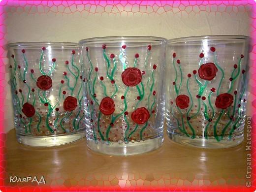 Купила набор стаканов, но не удержалась и украсила)))) Розы из пластики, витражные контуры))) фото 3