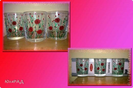 Купила набор стаканов, но не удержалась и украсила)))) Розы из пластики, витражные контуры))) фото 1