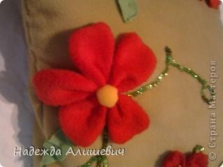 Вот эту подушечку я решила подарить маме на 8 марта. Я сделала цветочки и пришила их к подушке. Ещё я обшила её поедками. фото 3