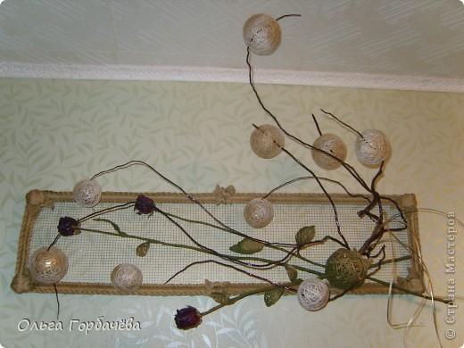 Сетка мет.,Корень,Засушенные розы,шары из ниток,Листья из ниток. фото 9