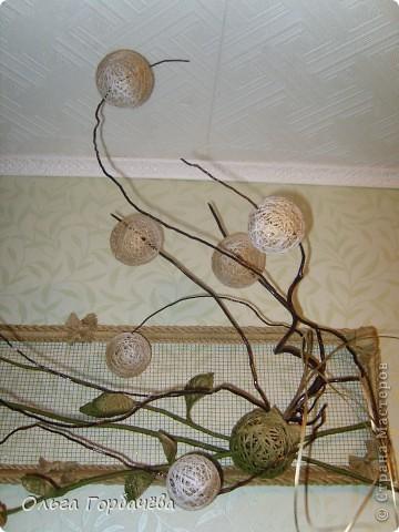 Сетка мет.,Корень,Засушенные розы,шары из ниток,Листья из ниток. фото 3