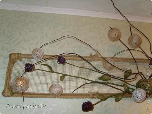 Сетка мет.,Корень,Засушенные розы,шары из ниток,Листья из ниток. фото 4