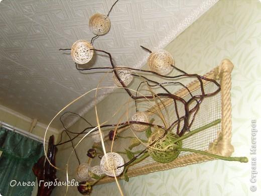 Сетка мет.,Корень,Засушенные розы,шары из ниток,Листья из ниток. фото 5