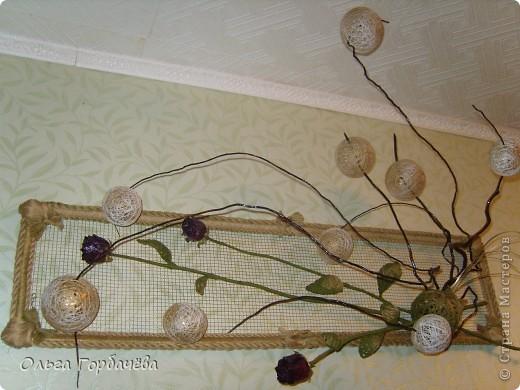 Сетка мет.,Корень,Засушенные розы,шары из ниток,Листья из ниток. фото 2