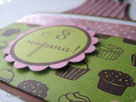 Хоть 8 марта и женский праздник,а у плиты стоять придется! Вот я и приготовила шуточные открытки-фартуки для своих родных. Идею такой открытки подсмотрела здесь http://rus-scrap.ru/ideas/idei-yumor-ot-eshli.html. А фоны скачала тут http://rus-scrap.ru/download/pappers-time-for-tea.html.  фото 3