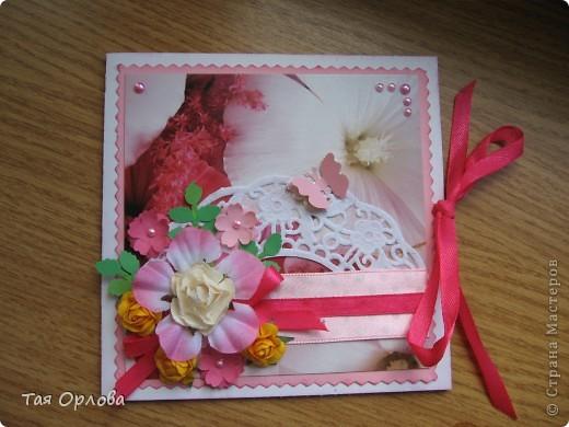 Добрый день всем!На ваш суд еще одна кучка открыток к 8 марта и не только.Нашли применение подарки из Светиной посылки-цветочки,листочки ,бабочки ,бусинки,картон.Две первые открытки просто с пылу с жару. фото 1