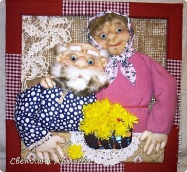 снова панно с бабулей и дедулей. Если честно, они должны были быть с очередным чайником, но чайники мне так надоели... А тут весна, вот и навеяло. Будет панно про любовь и одуванчики. фото 1