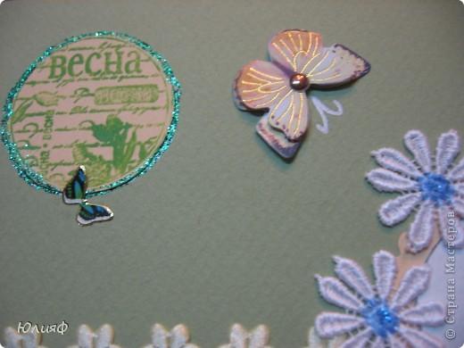 Открытка для подруги Распечатка, бумага акварельная, бумага для скрапа, наклейка, цветок тканевый, украшено контуром Декола и глиттером фото 5