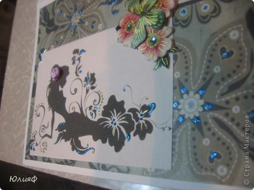 Открытка для подруги Распечатка, бумага акварельная, бумага для скрапа, наклейка, цветок тканевый, украшено контуром Декола и глиттером фото 2